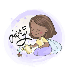 Fairy girl and future with lettering vector