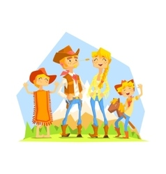 Family Dressed As Cowboys With Mountain Landscape vector