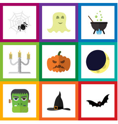 Flat icon halloween set of spirit spinner vector