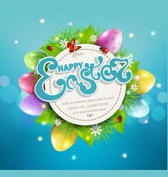 for easter with a round card text eggs grass vector image