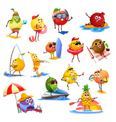 Fruit characters summer leisure activity travel vector