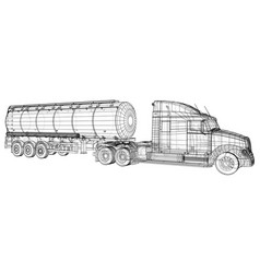 Gasoline truck tracing vector