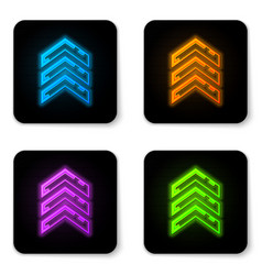 Glowing neon military rank icon isolated on white vector