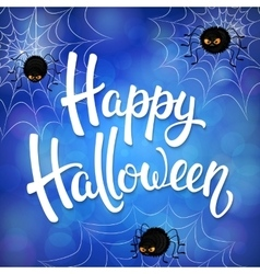 Halloween greeting card with angry spiders vector