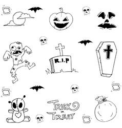 Halloween zombie and tomb in doodle vector