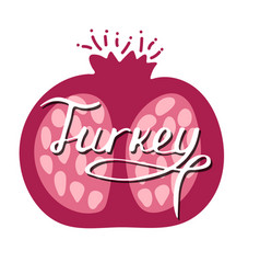 hand-drawn turkish lettering with pomegranate vector image