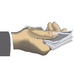 hand holding dollar bill cash money vector image