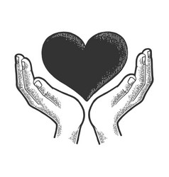 hands and heart symbol sketch engraving vector image