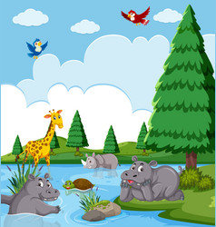 Happy animals in the lake vector