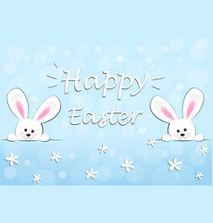 Happy easter card two funny bunnies on a blue vector