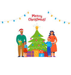 happy family decorating christmas tree holidays vector image