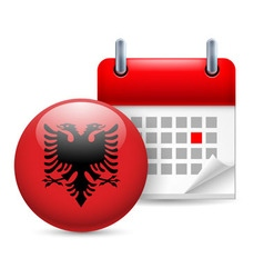 Icon of national day in albania vector image