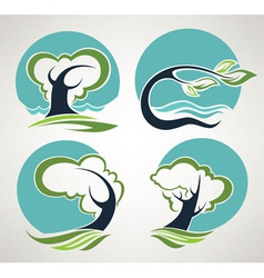 Landscape symbols in folklore style vector