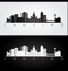 Lansing usa skyline and landmarks silhouette vector