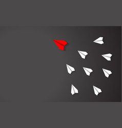 Leadership of red paper airplane concept between vector
