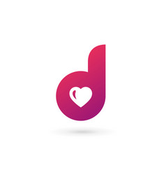 Letter d heart logo icon design template elements vector