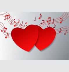 Love Music with Hearts and Notes on White vector image