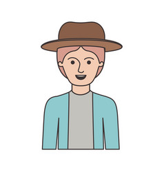 man half body with hat and jacket with short hair vector image