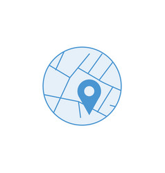 map roads with marker in the circle map pin or vector image