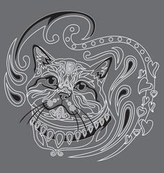 Monochrome ornamental cat 7 vector