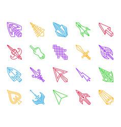 Mouse cursor simple color line icons set vector