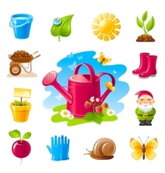 Nature gardening icon set with farm and vector