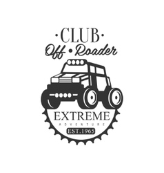 Off-road adventure extreme club and rental black vector