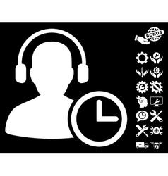 Operator Time Icon with Tools Bonus vector