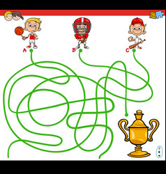 paths maze game with kid and sports vector image