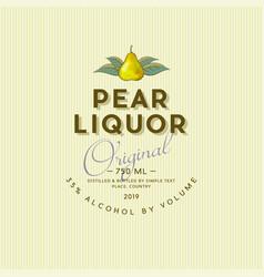 Pear liquor label vintage packaging alcohol vector