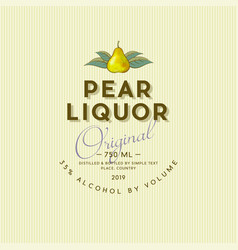 Pear liquor label vintage packaging pear alcohol vector