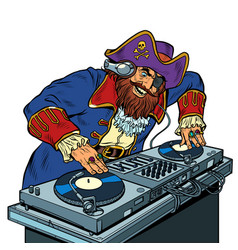 Pirate music concept dj on vinyl turntables vector