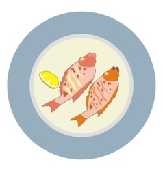 Plate fish barbecue vector