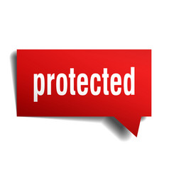 Protected red 3d speech bubble vector