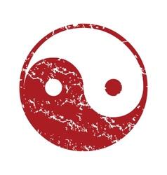 Red grunge Taoism logo vector