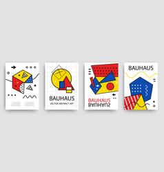 Retro geometric bauhaus memphis covers set vector