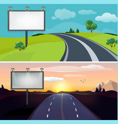 road landscapes day night highway with blank vector image
