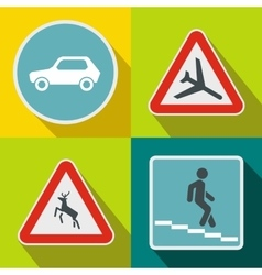 Road Sign banners set flat style vector image