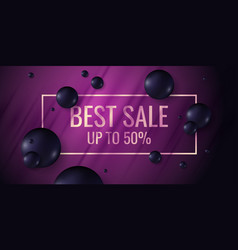 sale poster black spheres on a bright background vector image