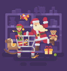 santa claus riding a shopping cart with his elf vector image