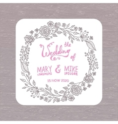 Save the date wedding invitation card with wreath vector