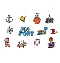 Sea port colorful icons set vector image