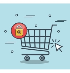 Security shopping online desing vector