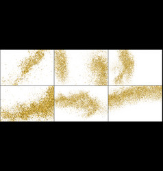 Set gold glitter texture isolated on white vector