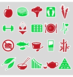 set of diet and healthy life style theme stickers vector image