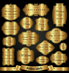set of golden labels in retro style vector image