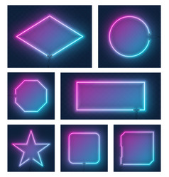 set realistic glowing different shapes neon vector image