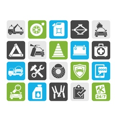Silhouette Roadside Assistance and tow icons vector