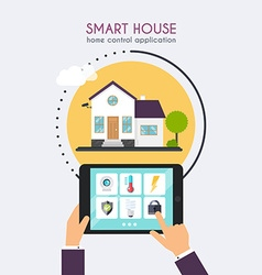 Smart house home control application concept hand vector