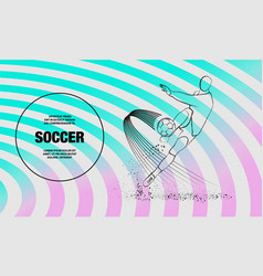 Soccer player hits ball front view vector